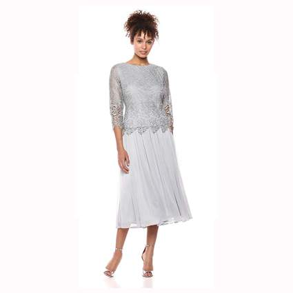 silver lace and tulle formal dress