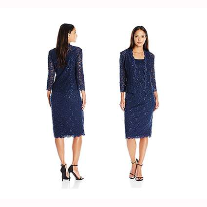 navy lace dress and jacket