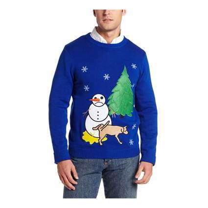 dog peeing on snowman sweater