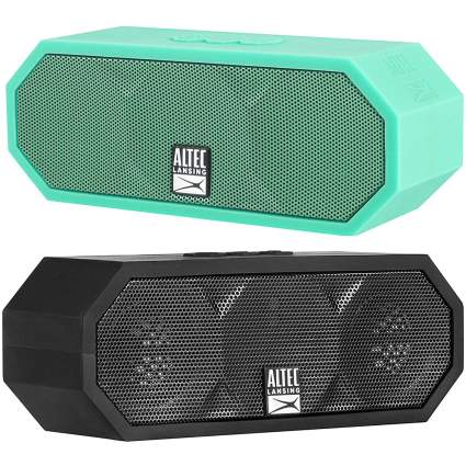 Teal and black mini speakers