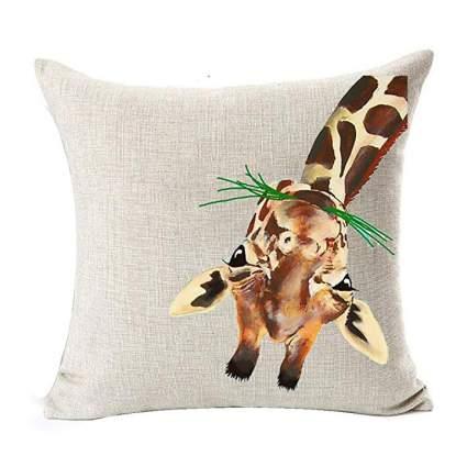 Canvas pillow with upside down giraffe