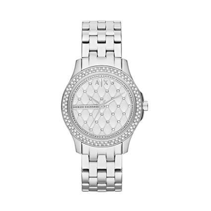 armani white goldtone watch