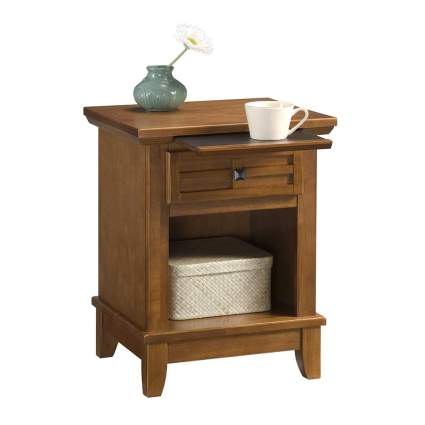 oak nightstand with pullout table
