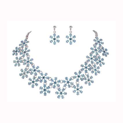 austrian crystal snowflake necklace and earring set