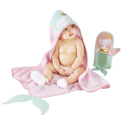 Baby in cute pink bath time set