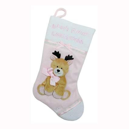 baby reindeer fleece christmas stocking