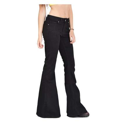 black bell bottom jeans