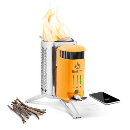 wood burning campstove and usb charger