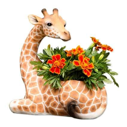 Giraffe planter with marigolds
