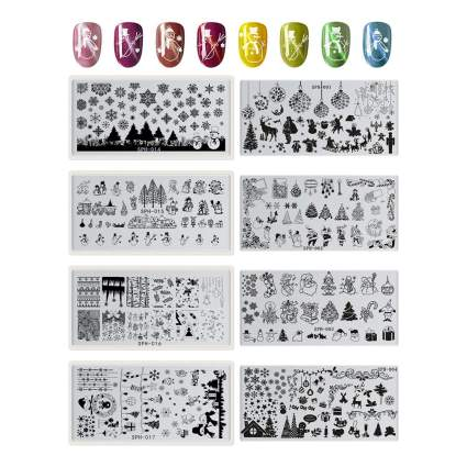 Nail stamping plates with rainbow swatches
