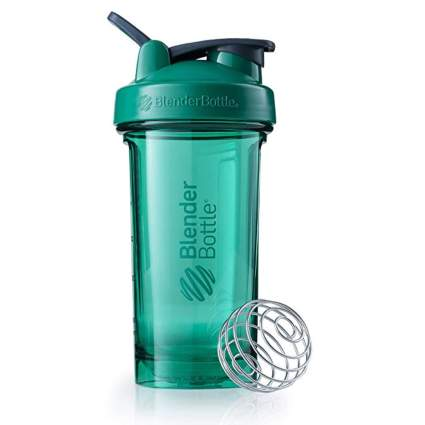 teal shaker bottle with whisk ball