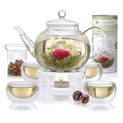 blooming tea gift set with pot