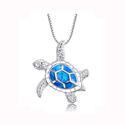 blue opal and silver turtle pendant necklace