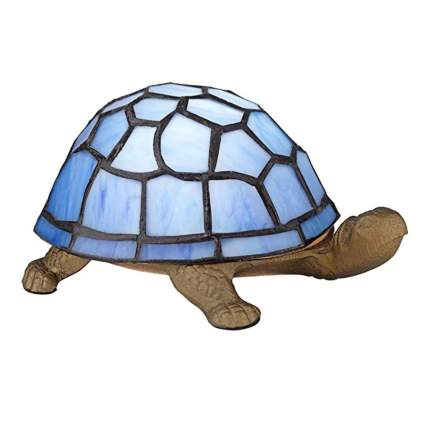 blue tiffany style turtle accent lamp