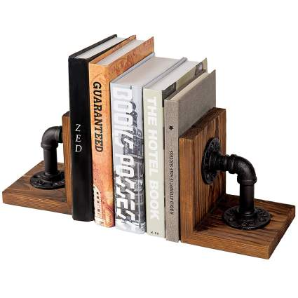 MyGift Industrial-Style Pipe & Rustic Wood Tabletop Bookends