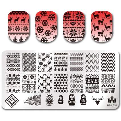 Nail stamping plate with red swatches