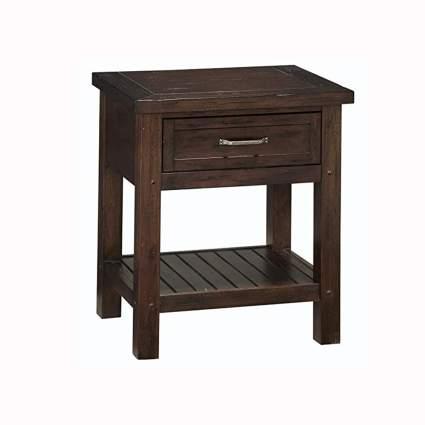 chestnut finish wood nightstand