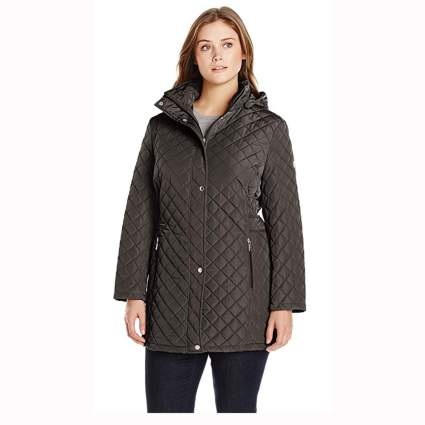 black plus size quilted jacket with side tabs