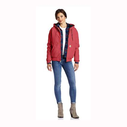 red women's flannel lined hooded jacket