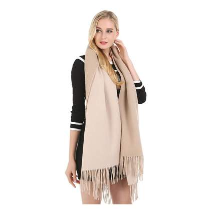 beige cashmere wrap shawl