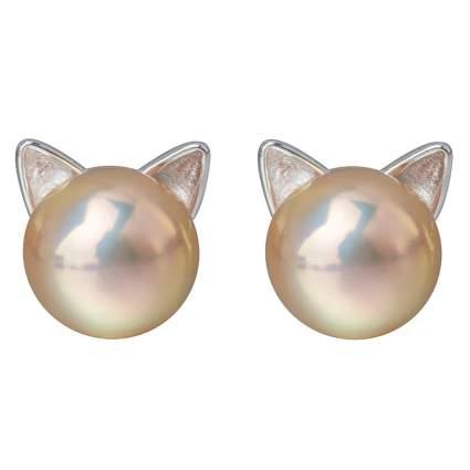 pearl cat earrings