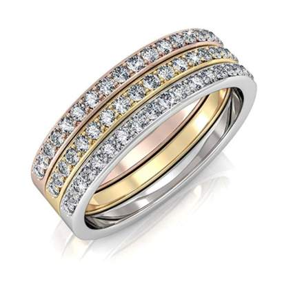 18k gold plated stacking anniversary ring set