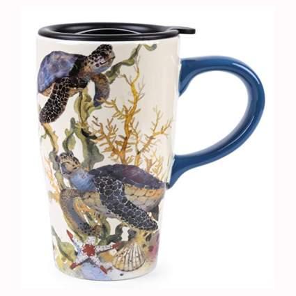 ceramic turtle travel mug