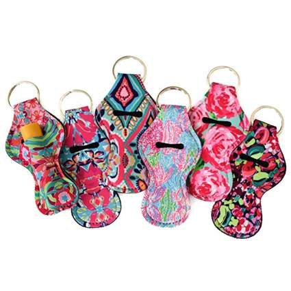 floral print chapstick holder keychain set