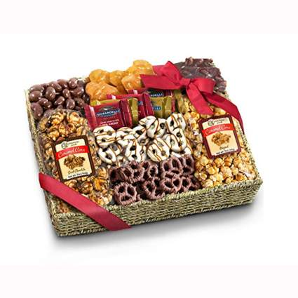 chocolate and caramel food gift basket
