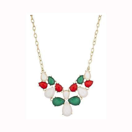 red, white and green statement necklace