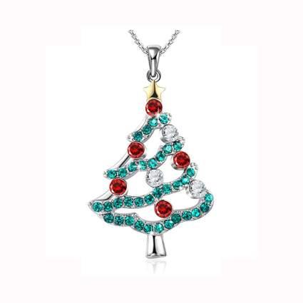 christmas tree pendant necklace with swarovski crystals
