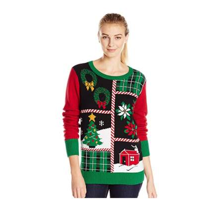 Woman in patchwork christmas sweater