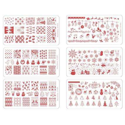 Red and white stamping plates