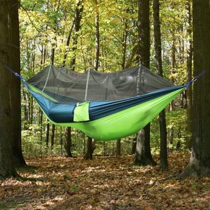 Green camping hammock