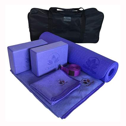 seven piece purple yoga set
