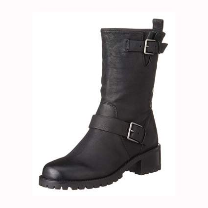 black leather women's motorcycle boot