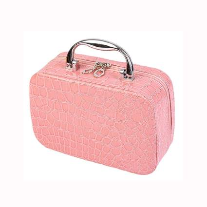 pink croc print cosmetic travel case