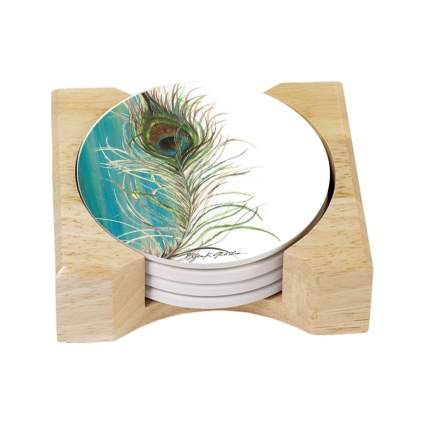 counterart peacock feather coasters peacock gifts