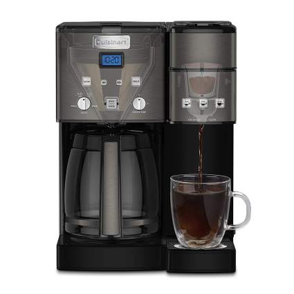 Coffee maker with carafe and glass cup