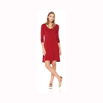 red long sleeve jersey v neck dress