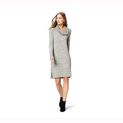 gray cowl neck shift dress
