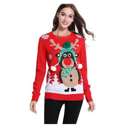 Woman in red reindeer sweater