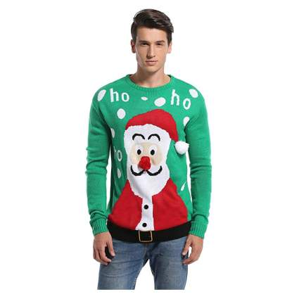 Man in green santa sweater