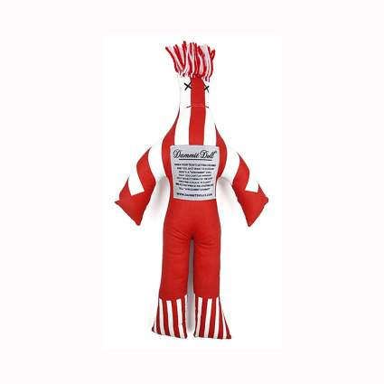 red and white dammit doll