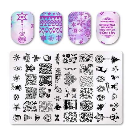 Nail stamping plates and swatches