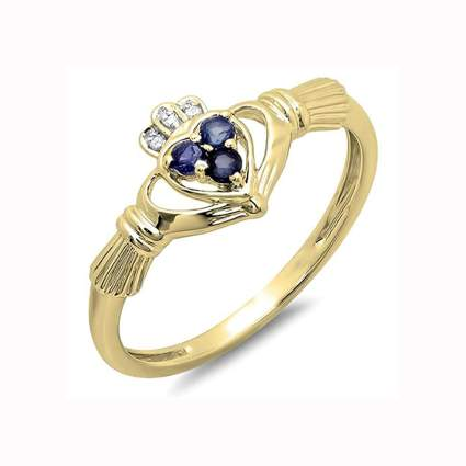 diamond and sapphire 18k gold claddagh ring