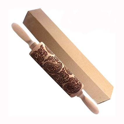 embossed wooden rolling pin