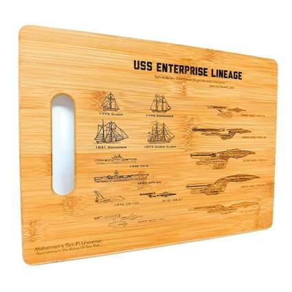 enterprise lineage star trek cutting board
