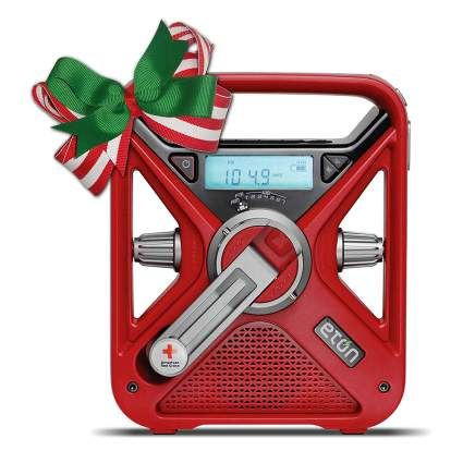 Red emergency radio with crank
