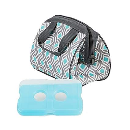 blue and grey insulated lunch bag and ice pack